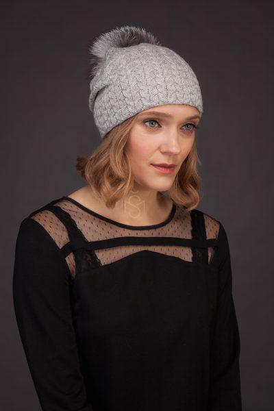 Cashmere hat with fox fur pom-pom_light_gray made by SILTA MADA fur studio in Vilnius