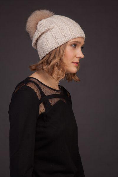Cashmere hat with fox fur pom-pom_light made by SILTA MADA fur studio in Vilnius