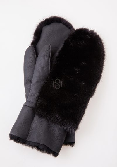 Sheepskin mittens with mink fur black made by Silta Mada fur studio in Villnius