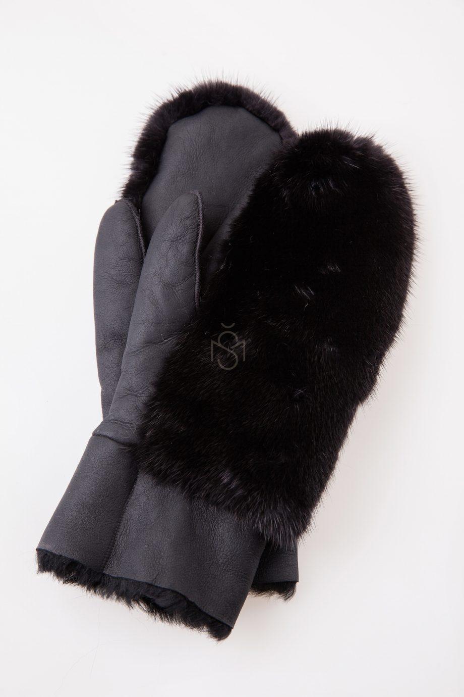 Sheepskin mittens with mink fur black made by Silta Mada fur studio in Villnius