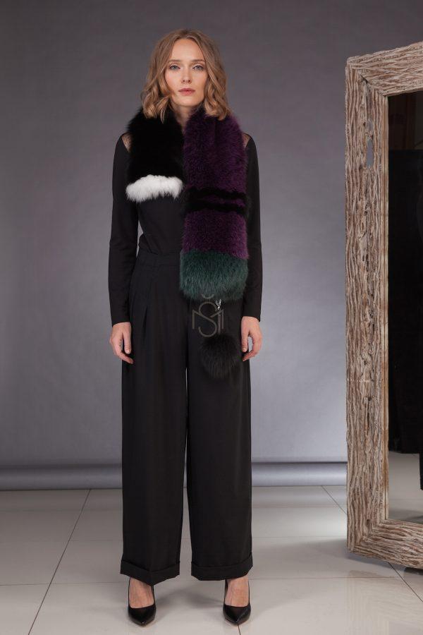 Contrast fox fur scarf with pom-pom_purple made by SILTA MADA fur studio in Vilnius