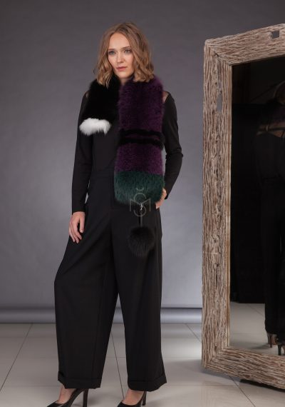 Contrast fox fur scarf with pom-pom_purple made by SILTA MADA fur studio in Vilnius
