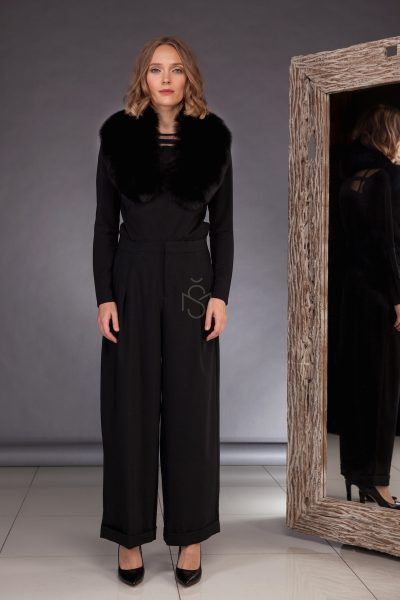 Fox fur collar with leather inserts_black_made by SILTA MADA fur studio in Vilnius