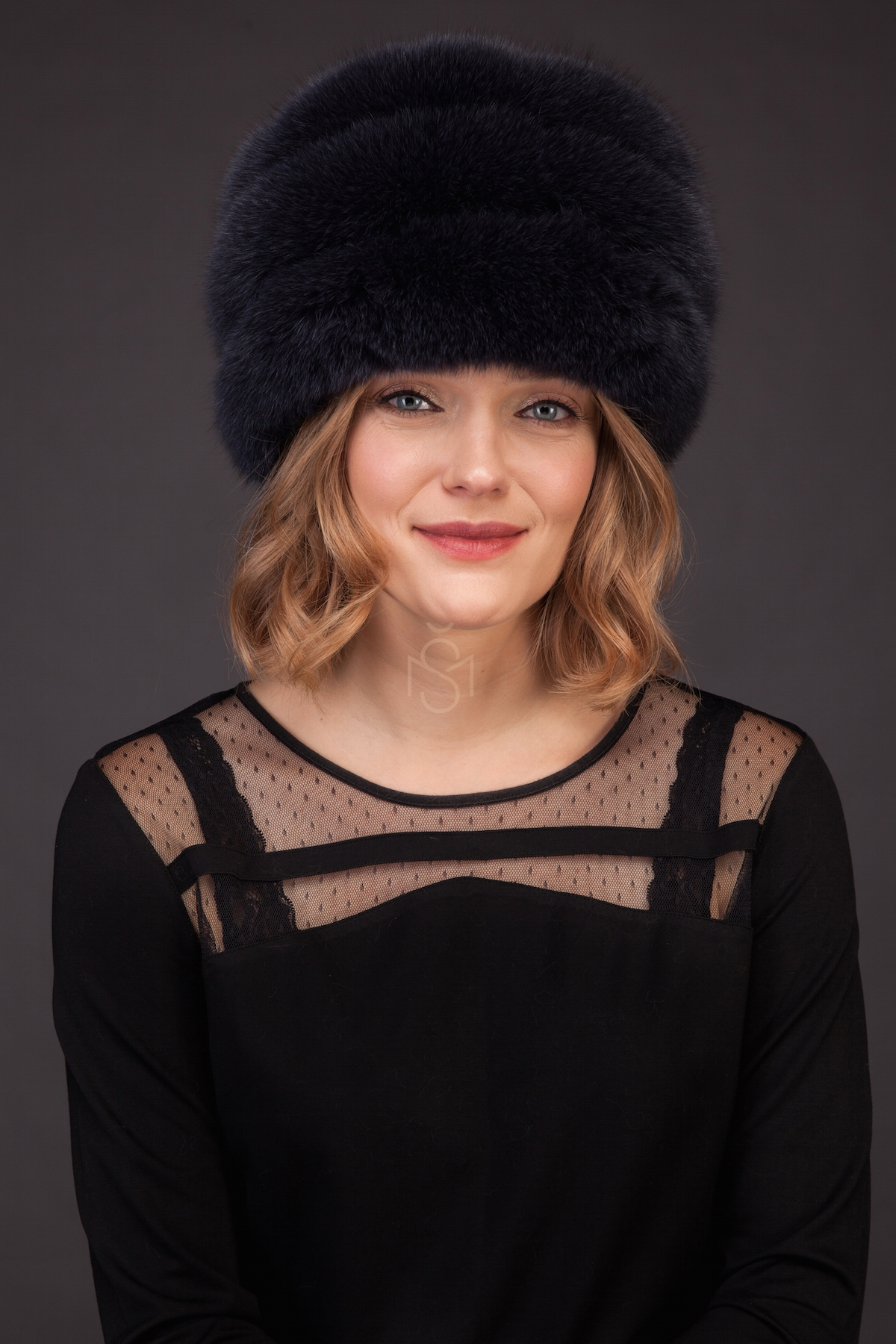 Fox fur hat with leather inserts blue made by SILTA MADA fur studio in Vilnius