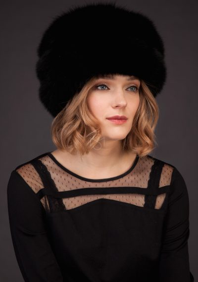 Fox fur hat black made by SILTA MADA fur studio in Vilnius