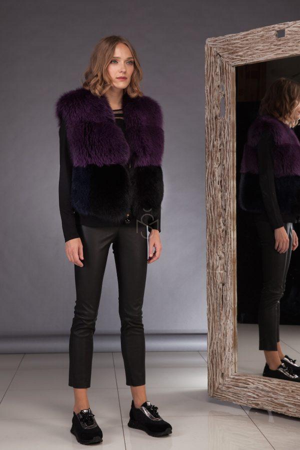Contrast fox fur vest_purple made by SILTA MADA fur studio in Vilnius