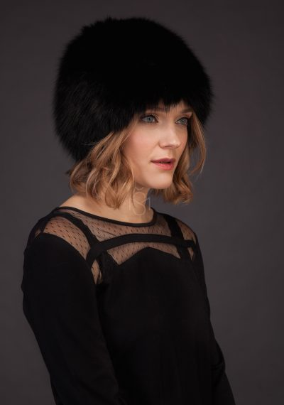 Knitted fox fur hat black made by SILTA MADA fur studio in Vilnius