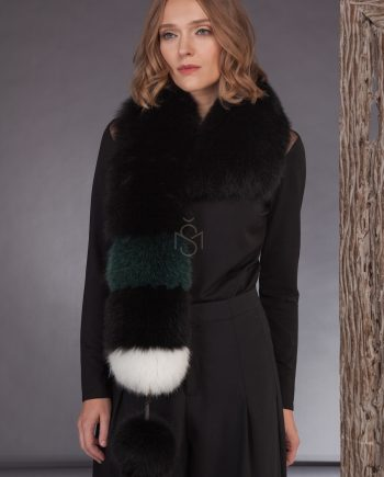 Contrast fox fur scarf with pinnable pom-pom made by SILTA MADA fur studio in Vilnius