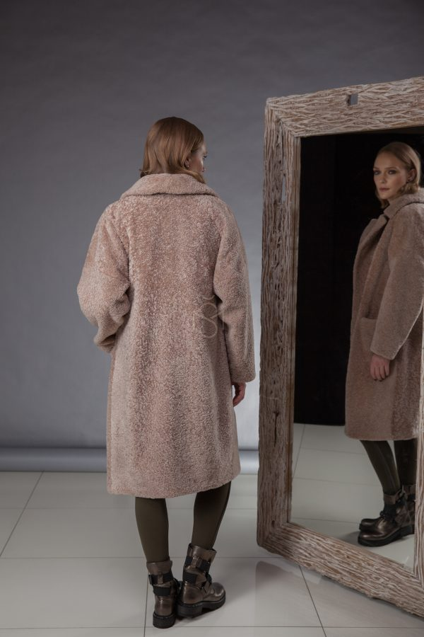 High quality, especially soft and light sheepskin coat made by Silta Mada fur studio in Vilnius