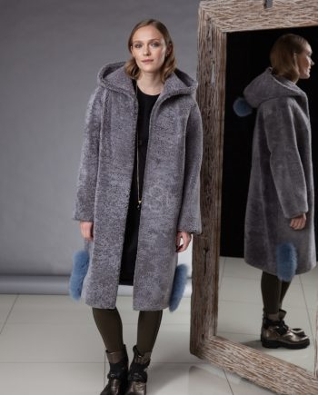 Exceptionally soft and light sheepskin coat with hoodmade by Silta Mada fur studio in Vilnius