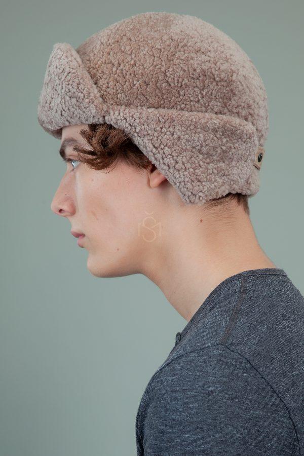 biezinio avikailio kailio kepure su susegamomis ausimis