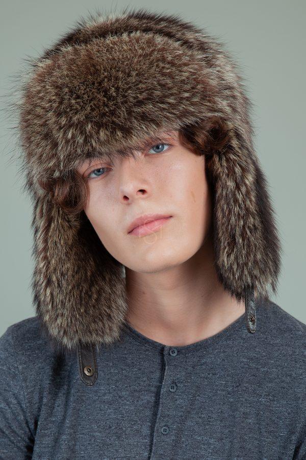 pilna meskeno kailio kepure su ausimis