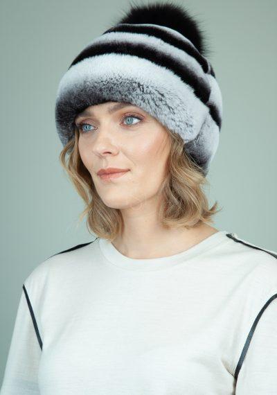 rekso triusio kailio kepure su odos interpais ir pom