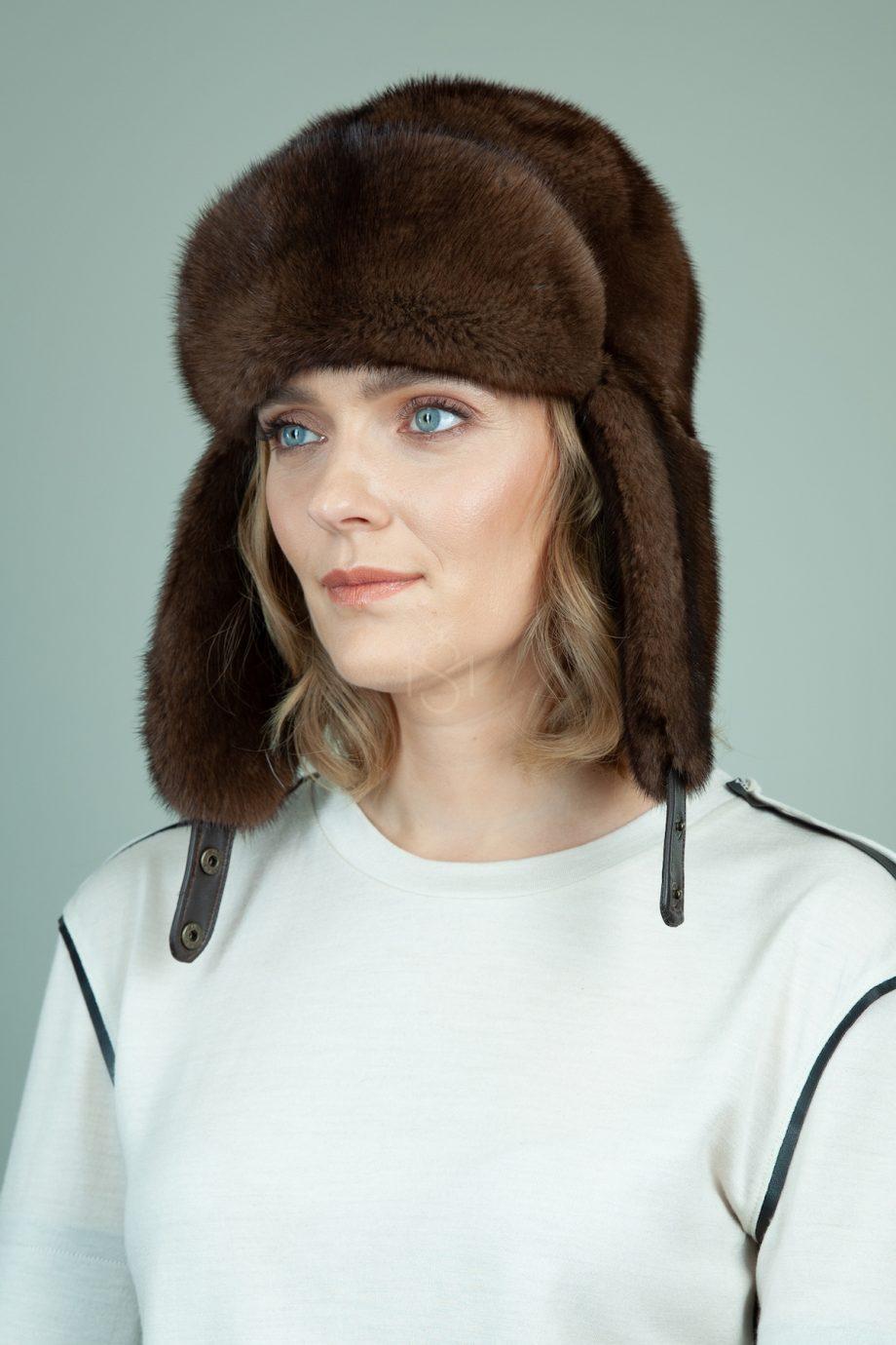 rudos audines kailio kepure su ausimis moterims