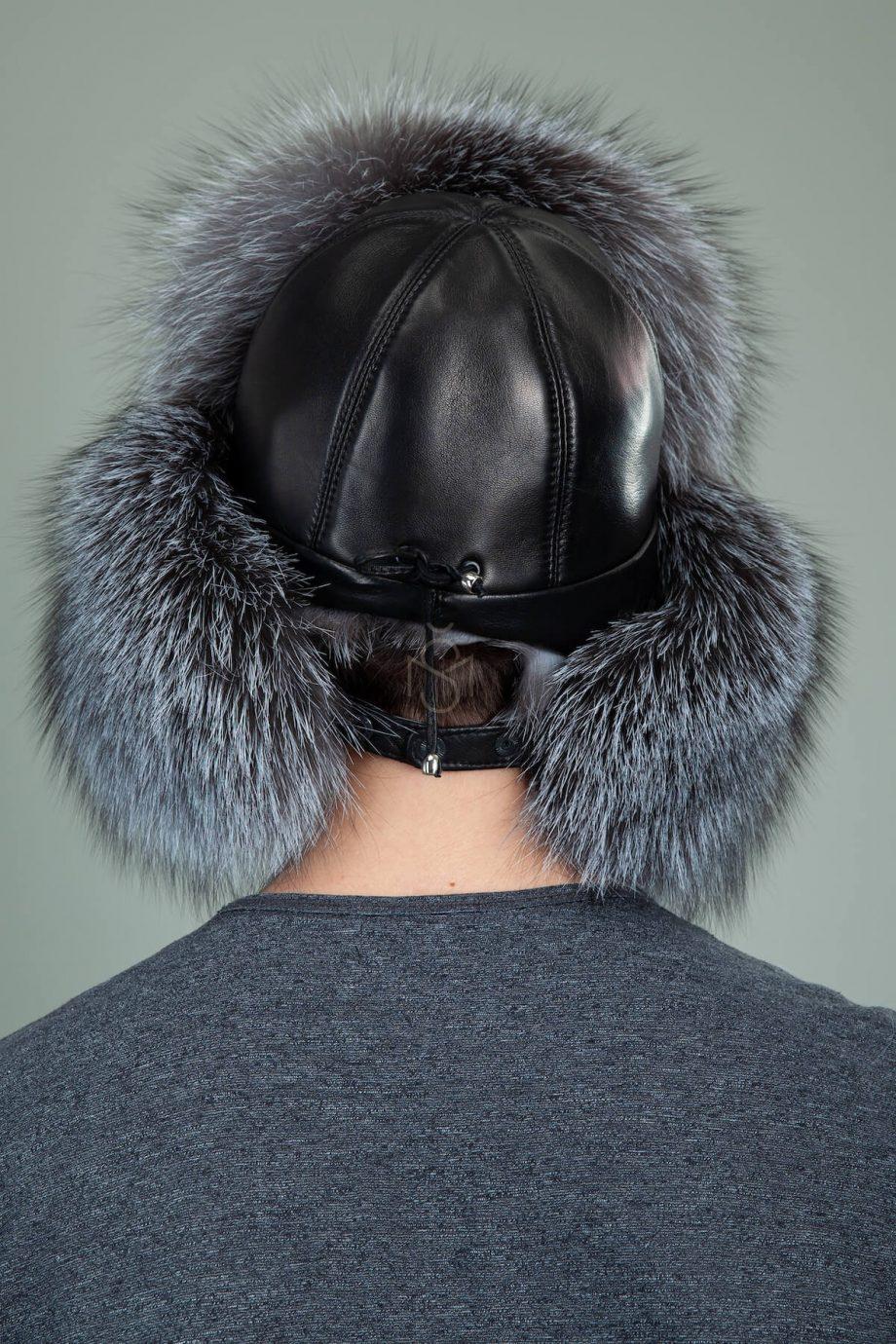 vyriska ausine kepure su juodsidabres lapes kailiu ir oda